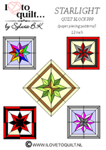 Star Light quilt block PPP- papieren versie