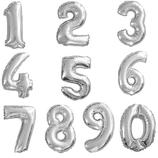 Ballon en forme de chiffre argenté