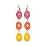 Boucles d'oreilles Racine de rubis , Calcédoine orange et jaune