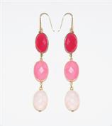 Boucles d'oreilles Calcédoine fuchsia, Calcédoine rose et Quartz rose