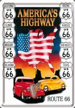 Route 66 gelbes rotes Auto