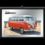 VW Bulli rot am Strand