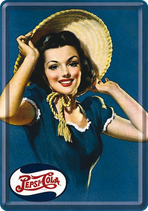 Pepsi Dame mit Hut