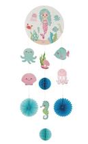 Festone sirena e animali marini pendente in carta a nido d'ape