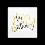 """Tovagliolo """"Happy Birthday"""" Oro Metal 20pz"""