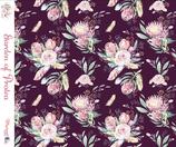 "Aubergine  ""Garden of Protea"" Canvas Meterware"