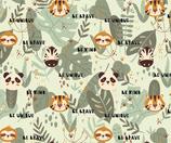 """Jungle Friends"" all over Print Sommersweat Meterware"