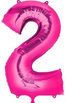 Zahl 2 Folienballon pink (66 cm)