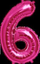 Zahl 6 Folienballon XXL pink