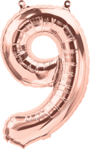 Zahl 9 Folienballon XXL rosegold