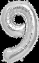 Zahl 9 Folienballon XXL silber