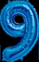 Zahl 9 Folienballon XXL blau