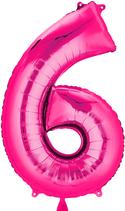 Zahl 6 Folienballon pink (66 cm)