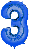 Zahl 3 Folienballon blau (66 cm)