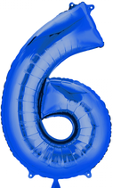 Zahl 6 Folienballon blau  (66 cm)