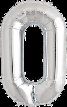Zahl 0 Folienballon XXL silber+