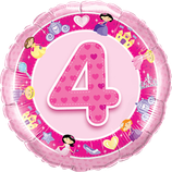 Ballon Geburtstag-Zahl: 4 Princess Prinzessin pink