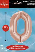 Zahl 0 Folienballon rosegold (66 cm)