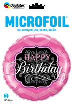 Ballon Geburtstag: 16702 Happy Birthday Pink und Black