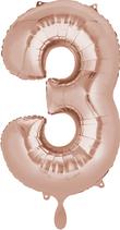 Zahl 3 Folienballon rosegold (66 cm)