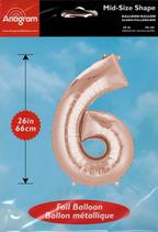 Zahl 6 Folienballon rosegold (66 cm)