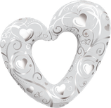 16304 Folienballon Hearts and Filligree white