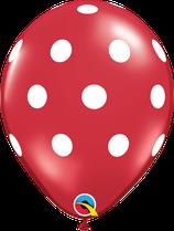 29510 Polka Dots Rot- Latexballon rund