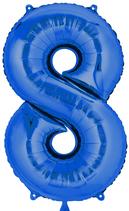 Zahl 8 Folienballon blau (66 cm)