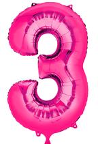 Zahl 3 Folienballon pink (66 cm)