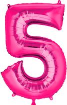 Zahl 5 Folienballon pink (66 cm)