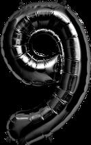 Zahl 9 Folienballon XXL schwarz