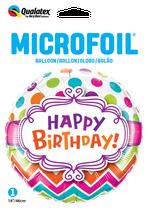 Ballon Geburtstag: 28124 Happy Birthday Chevron Dots