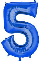 Zahl 5 Folienballon blau (66 cm)