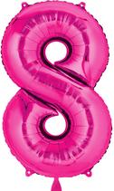 Zahl 8 Folienballon pink (66 cm)