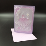 Carte Robe rose en dentelle de papier