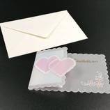 Carte double coeur en dentelle de papier