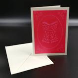 Carte bustier rouge en dentelle de papier