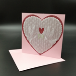 Carte de mariage Colombes en dentelle de papier