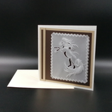 Carte Cheval cabré en dentelle de papier