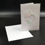 Carte mariage coeur et fleurs en dentelle de papier