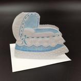 Carte de naissance berceau bleu en dentelle de papier