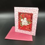 Carte Amour lapin et cœur en 3D