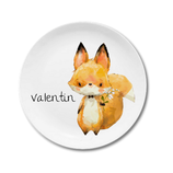 Breakfast plate fox Valentin with name