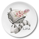 Large plate with name racoon girl with flowers