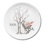 Breakfast plate racoon girl Nele with name