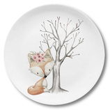 Breakfast plate fox girl with tree