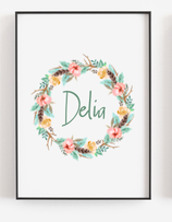 Name poster A4  green flower wreath