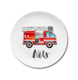 Breakfast plate fire engine Nils with name
