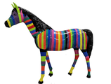 RIA883 Pferde Figur lebensgroß bunt Deko Garten Gastro Werbe Figur