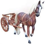RI10A71 Pferde Figur mit Kunsthaar und Karre